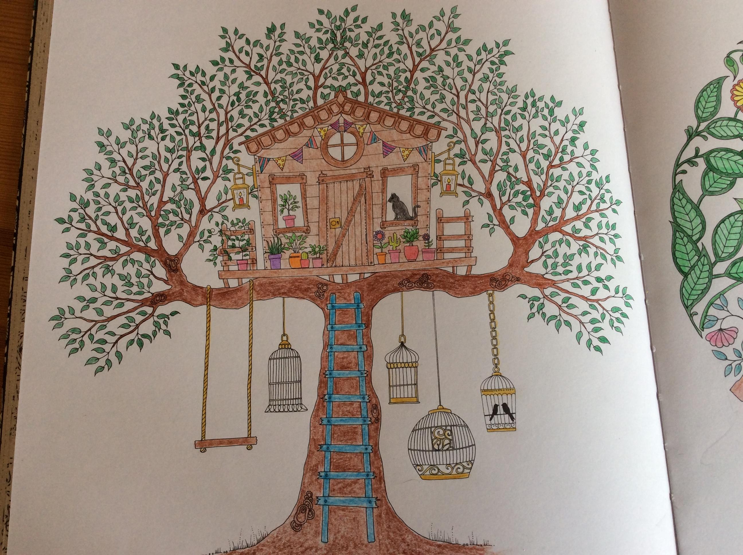 Coloriage Jardin Arbres.Coloriages Et Petites Creations Cabane Dans Un Arbre